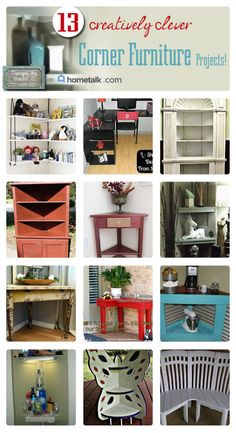 Thirteen of the Most Awesome Corner Projects on Hometalk! When I was contacted by Alex at Hometalk to create a board featuring Corner Furniture Projects, I jum Corner Furniture, Home Decor Furniture, Furniture Projects, Furniture Makeover, Cool Furniture, Diy Home Decor, Diy Wood Projects, Home Projects, Furniture Restoration