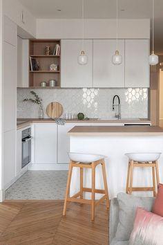 Kitchen Room Design, Modern Kitchen Design, Kitchen Layout, Home Decor Kitchen, Interior Design Kitchen, Kitchen Living, Home Kitchens, Small Kitchen Designs, Small Kitchen Furniture