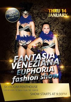 Preview: Fantasia Veneziana Europhoria Fashion Show @ 6PM Thurs. Jan 14, 2016