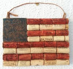 American flag wall hanging made from recycled corks. $20.00, via Etsy.