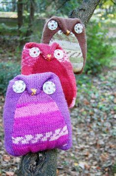 Free Knitting Pattern - Toys, Dolls & Stuff Animals: Owl Pals Pillows