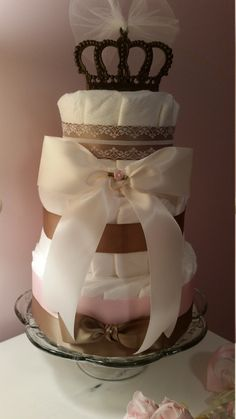 Girl Diaper Cake Crown Pink & Antique by ItsUpInTheAttic on Etsy