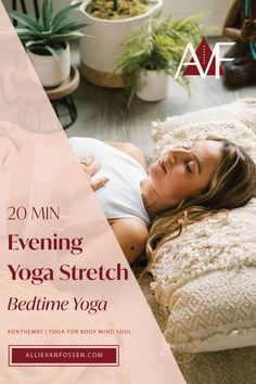 This is THE ONLY bedtime yoga you need to ease into your evening routine! After a long day, this 20 min evening yoga stretch will help you unwind from head to toe, body, mind + soul. All yoga practitioners are welcome here - beginner to advanced. For the best on the mat experience to ease into evening, dim the lights, put on your pjs, remove distractions, and say yes to ending your day here. Welcome to your deep sigh of relief and release. Allie, xx #bedtimeyoga #20mineveningyoga…