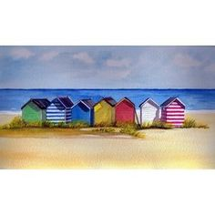 Southwold Beach Huts Watercolor
