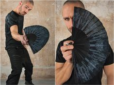 Folding Hand Fan made of recycled wood. The perfect Goth Gift for Goth Wedding for Sith Cosplay with HR Giger Lovecraft Style Artwork   Our 23 cm hand fan is an amazing hand crafted artwork. The hand fan has a beautiful sacred geometry tattoo artwork. It would fit to every amazing outfit but you can Burning Man, Cyberpunk, Goth Outfit, Bali, Pixie Outfit, Dystopian Fashion, Sacred Geometry Tattoo, Male Hands, Steampunk Clothing