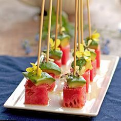 Watermelon Avocado Skewers. The perfect little summertime appetizer!