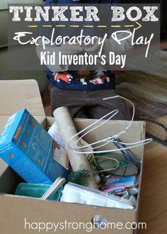 Create a tinker box sensory bin ideas for Kid Inventor's Day, January 17! Homeschool Kindergarten, Preschool Books, Preschool Ideas, Homeschooling, Kits For Kids, Learning Activities, Activities For Kids, Crafts For Kids, Creative Play
