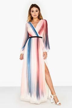 PLEASE NOTE THIS DRESS IS FOR PREORDER AND WILL BE DELIVERED 2ND/3RD WEEK OF MAY A chiffon maxi dress in dip dye stripe print with a thigh split. Dress measures approx 149cm from shoulder to hem when laid flat.