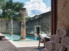 The pool at Hacienda Uayamon, a hotel in Mexico's Yucatán Peninsula, was created when the ruins of the original estate were flooded back in 1700.