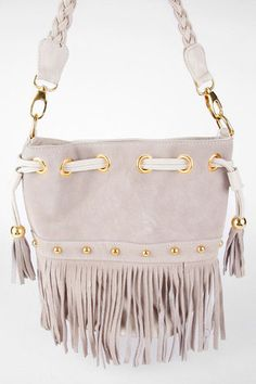 Braided Fringe Bucket Bag in Taupe - but love the black one too
