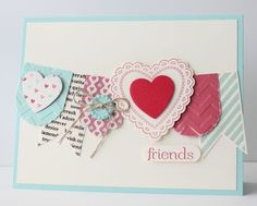 Hearts a Flutter stamp set  Hearts a Flutter framelits  Coredinations Pool Party Paper  Coredinations Real Red Paper  Coredinations Prime Rose Paper  Hearts a Flutter fabric  Sale-a-bration button  Linen Thread  Very Vanilla Cardstock  Dimensionals  More Amore DSP