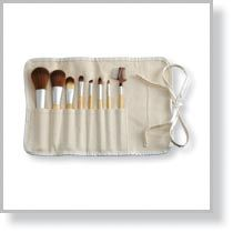 8-Piece eQo-Friendly Brush Set with Roll & Tie Pouch, Natural