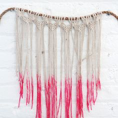 Make your own macrame hanging with dipped ends for fun wall decor or wedding backdrop!