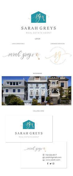 Branding kit logo design  Real estate logo  House key logo