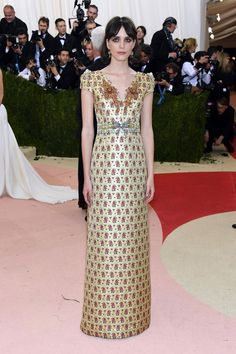 Stacy Martin in a Miu Miu dress and Fred Leighton jewelry