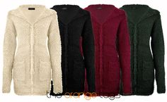 LADIES KNITTED OPEN FRONT HOODED BOYFRIEND CARDIGAN BAGGY TOP JUMPER