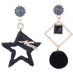 Black Asymmetric Star Fuzzy Ball Geometric Earrings ($3.81) ❤ liked on Polyvore featuring jewelry and earrings