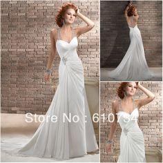 W0619 Bridal Open Low Back Wedding Dresses Chiffon Halter Top Beach Wedding Dresses on AliExpress.com. $156.00