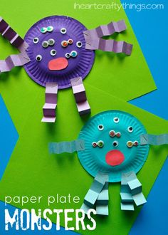 Paper Plate Monster Kids Craft. Make silly monsters with your kids using plates, paint, school glue, paper, and googly eyes.