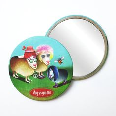Round Pocket Makeup Mirror - Stay As You Are Free Black, Black Mirror, Small Gifts, Emo, Pouch, Velvet, Pocket, Cool Stuff, Makeup
