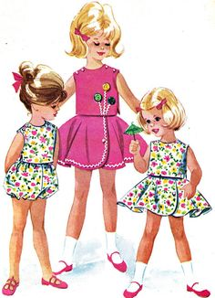 Vintage Sewing Pattern McCall's 6301 Toddler Reversible Top, Wraparound Circle Skirt and Bloomers Size 2 Breast 21 Childrens Sewing Patterns, Kids Patterns, Mccalls Patterns, Sewing For Kids, Vintage Sewing Patterns, Retro Mode, Mode Vintage, Patron Vintage, Vintage Girls Dresses