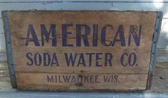 vintage american soda water co wooden crate milwaukee Wis - Wood Crates Shipping Wooden Shipping Crates, Vintage Wooden Crates, Old Wooden Boxes, Old Boxes, Wood Crates Entryway, Wood Crate Table, Crate Bench, Crate Crafts, Milwaukee