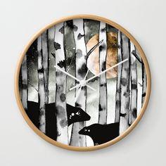 Moonlight Bears Wall Clock by amayab Bear Illustration, Moonlight, Clocks, Birch, Bears, Trees, Watercolor, Wall Art, Digital