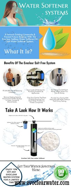 A water softening system is a house equipment that is used to remove nutrients from hard water. Hard water is an problem, which produces clogs and build up in pipes and simply leaves a slimy-felling residue. Well Water System, Water Well, Hard Water, Water Systems, Water Softening, Water Heating, Waterworks, Salt And Water, Pipes