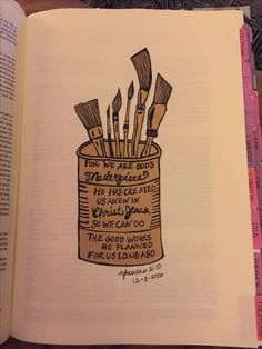 Ephesians 2:10 we are God's masterpiece, bible journaling, Pinterest inspiration, Faith, bible
