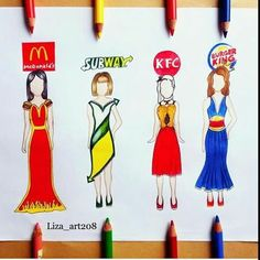 McDonalds, Subway, KFC & Burger King (Fashion by ? App Drawings, Disney Drawings, Cute Drawings, Art Sketches, Pencil Drawings, Dress Drawing, Drawing Clothes, Fashion Design Drawings, Fashion Sketches