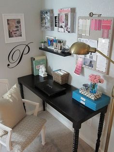 Office Nook (magazine holders; nailhead trim bulletin board) - Freckles Chick blog