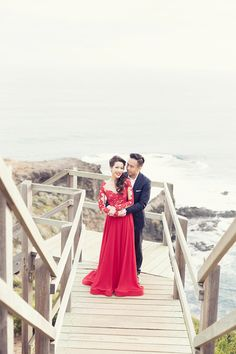 Crimson red gown, with beautiful lace detailing along the sleeves and bodice // Lady in Red: Yuhan and Geraldine's Melbourne Engagement Session Party Dresses Uk, Good Poses, Chiffon Evening Dresses, Red Gowns, Bridesmaid Dresses, Wedding Dresses, Wedding Shoot, Engagement Shoots, Dress P