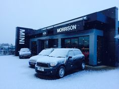 Feb 2014. Snow (okay, a light dusting) on the forecourt at Morrison MINI, Cahir, Co. Tipperary. We don't see much snow. It's exciting.
