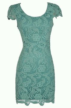 Nila Crochet Lace Capsleeve Pencil Dress in Sage  www.lilyboutique.com