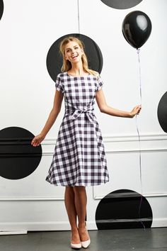 B&W Pretty in Plaid Dress | Spots and Square Collection by Shabby Apple