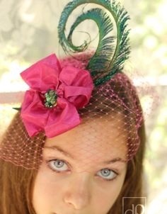 Pink Fascinator with Peacock Feathers By LISA INNIS  #millinery #HatAcademy