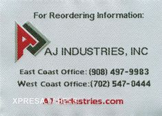Woven Industrial Furniture Labels-AJ