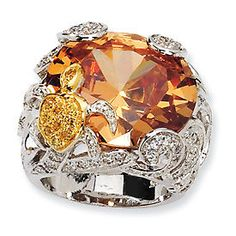 New Cheryl M. Sterling Champagne CZ Turtle Size 8 Ring