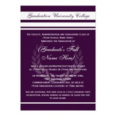 Purple gold formal graduation party invite 5 x 7 invitation card formal college graduation announcements purple stopboris Images