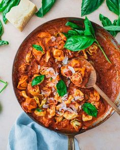 Tortelloni could not be tastier paired with tomato cream sauce! The rich, tangy sauce pairs perfectly with chewy pasta pillows. Side Dishes For Salmon, Side Dishes Easy, Main Dishes, Healthy Cooking, Cooking Recipes, Cheesy Pasta Recipes, Pasta Types, Sandwiches, Proper Tasty