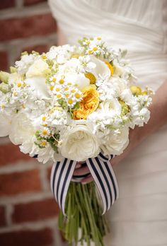 White & Yellow Peony and Rose Bouquet - From sweet antique dinnerware for a vintage wedding to lush floral chandeliers at an enchanted tented affair, here are some of our favorite details from recent real weddings. Yellow Bouquets, White Wedding Bouquets, Bride Bouquets, Striped Wedding, Floral Wedding, Rustic Wedding, Wedding Ideas, Rose Bridal Bouquet, Bridal Flowers
