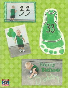 Larry Bird themed Birthday art project for kids or toddlers. Sports or Athlete art project for Dad. Feet / hand art projects