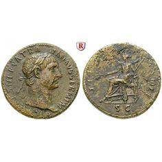 Römische Kaiserzeit, Traianus, Sesterz 101-102, ss: Traianus 98-117. Messing-Sesterz 34 mm 101-102 Rom. Kopf r. mit Lorbeerkranz IMP… #coins
