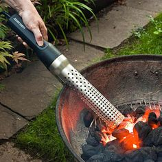 Quit struggling to start a barbeque using conventional methods – the instant charcoal lighter can get a fire going fast and reliably without need for lighter fluids. The instant lighter also works great for campfires and fireplace logs. Bbq Guys, Cooking Torch, Charcoal Bbq, Hardwood Charcoal, Bbq Tools, Kitchen Tools And Gadgets, Fire Starters, Outdoor Cooking, Outdoor Grilling