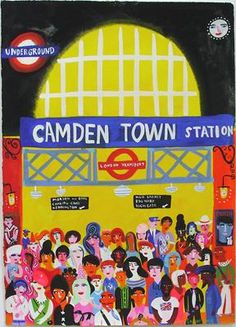 Camden Town Station by Christopher Corr So vibrant! London Art, Old London, Camden London, London Poster, London Street, London Underground, Underground Tube, London Illustration, Camden Town