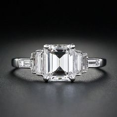 Lang Antiques Emerald Cut Art Deco Ring - Love the Milgrain! LOVE, LOVE, LOVE THIS!!