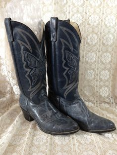 Cowboy Boots Blue Leather Boots Butterfly Cowgirl by couturecafe, $52.00