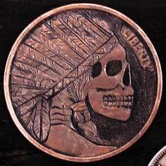 "DAVID ""COALBURN"" RAYMOND HOBO COIN - INDIAN SKULL - 1 oz COPPER ROUND American Coins, Native American, Indian Skull, Hobo Nickel, Copper, Carving, David, Native Americans, Wood Carvings"