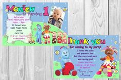 Personalised Iggle Piggle Upsy Daisy Girls Birthday Party Invitations and matching thank you cards