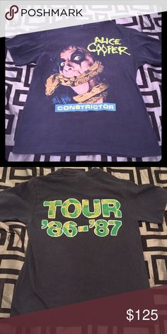Original Vintage Alice Cooper Tour Shirt 86-87 Original. Not a reproduction! Vintage Alice Cooper Constrictor Tour. Size Extra Small Tops Tees - Short Sleeve